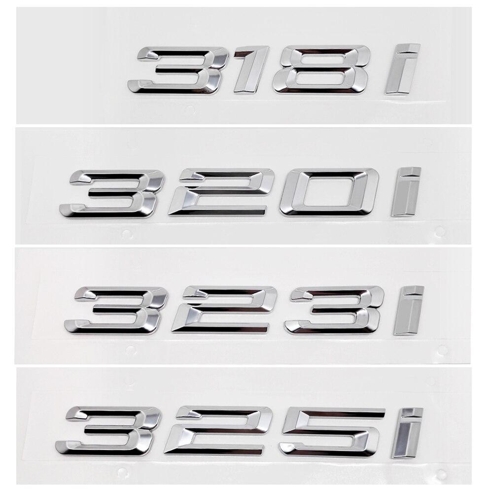 Tronco traseiro do carro decoração para bmw etiqueta de metal ou cromo número letras 318i 320i 323i 325i para bmw série 3 e36 e46 f30 f31