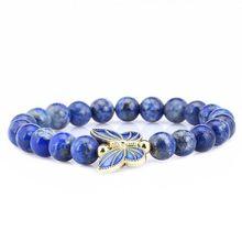 Lapis pierre naturelle 8mm Bracelet de perles papillon femmes Bracelet élastique extensible