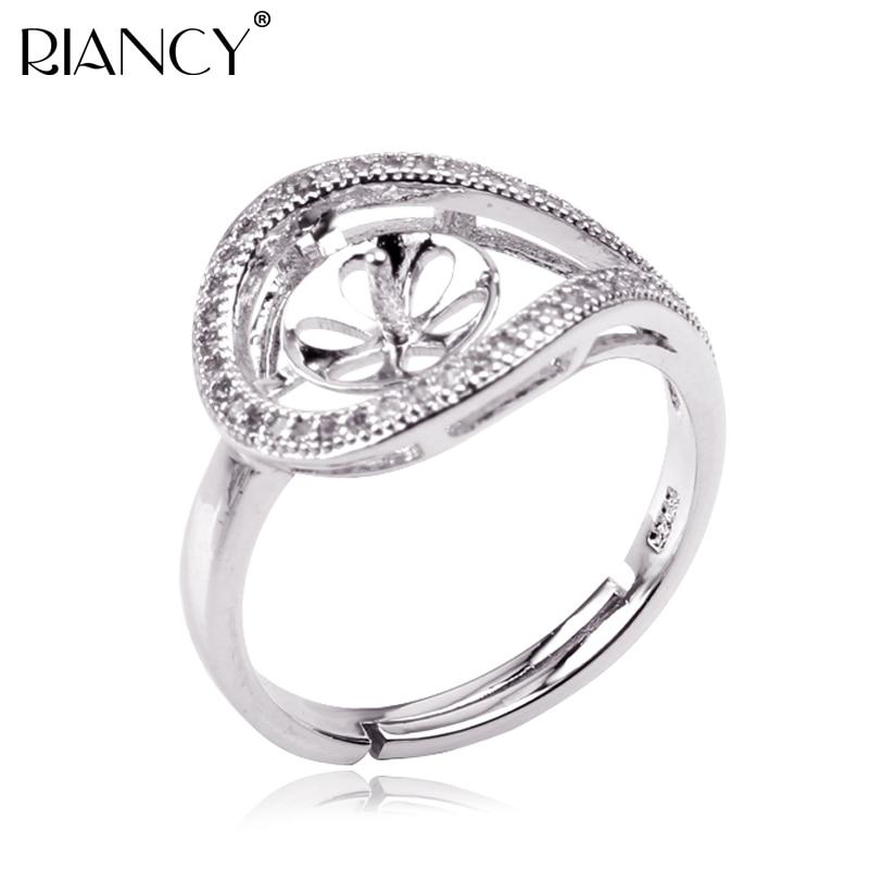 Anillo de Plata de Ley 925 con incrustaciones de gemas, anillo de perlas, Perla/Coral/cristal/anillo de gemas, accesorio de anillo DIY