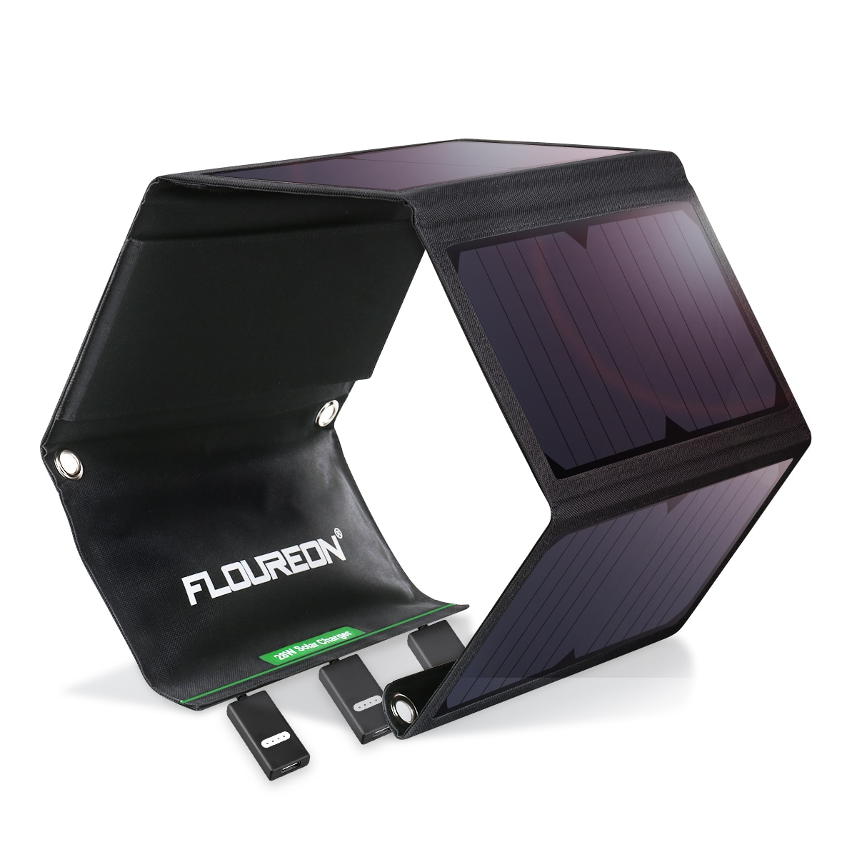 Cargador de Panel Solar impermeable plegable FLOUREON 28W, Banco de energía móvil para tabletas de teléfonos inteligentes, cargadores de exterior con puertos USB triples