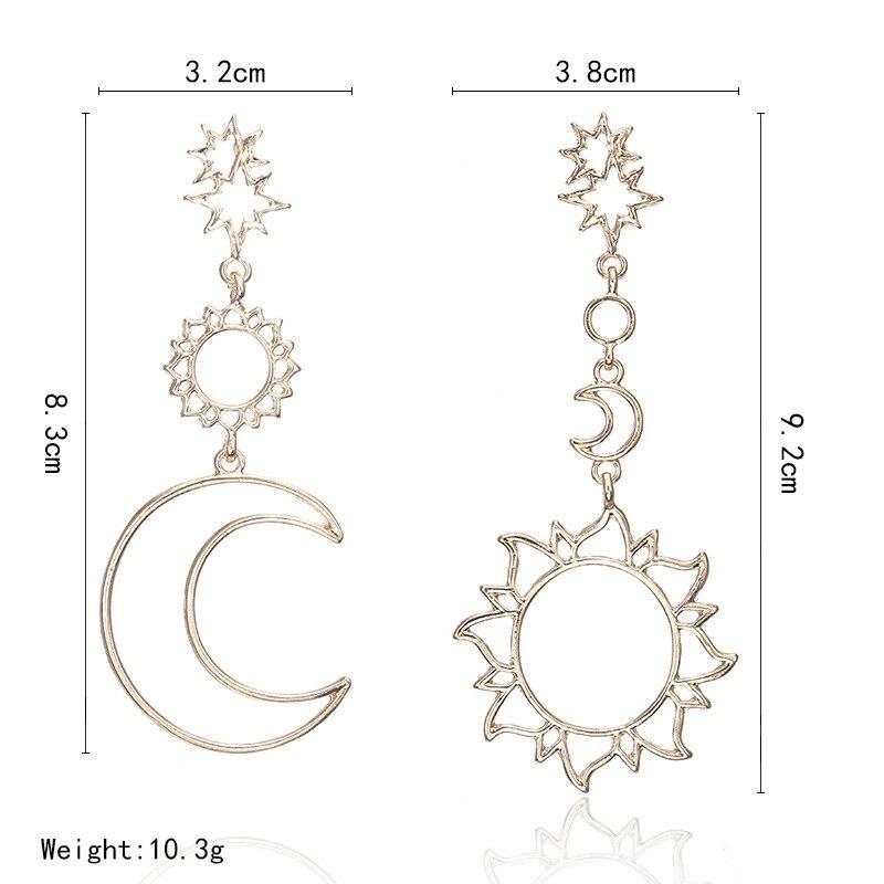 Cercei noi la modă cercei asimetrici zeu soare și zeu lună pentru - Bijuterii de moda - Fotografie 4
