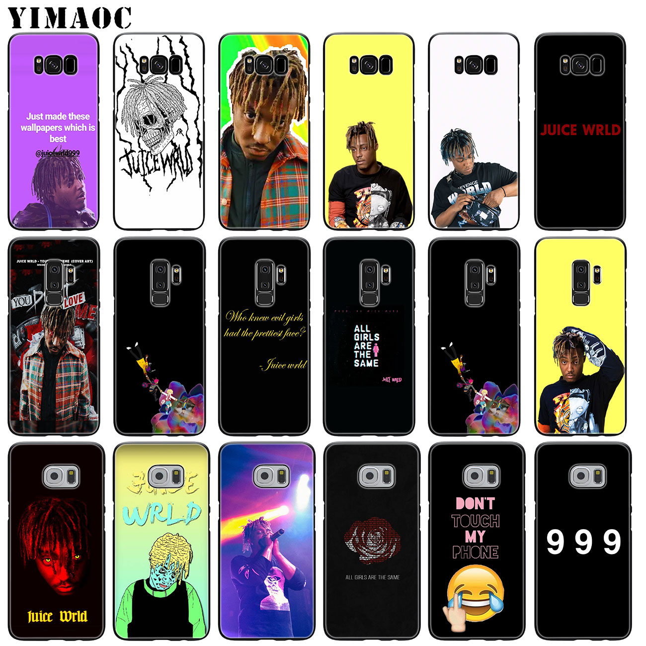 YIMAOC jugo de mundo 999 de silicona suave caso de teléfono para Samsung Galaxy S10 más S9 S8 más S6 S7 borde S10e cubierta negra E TPU