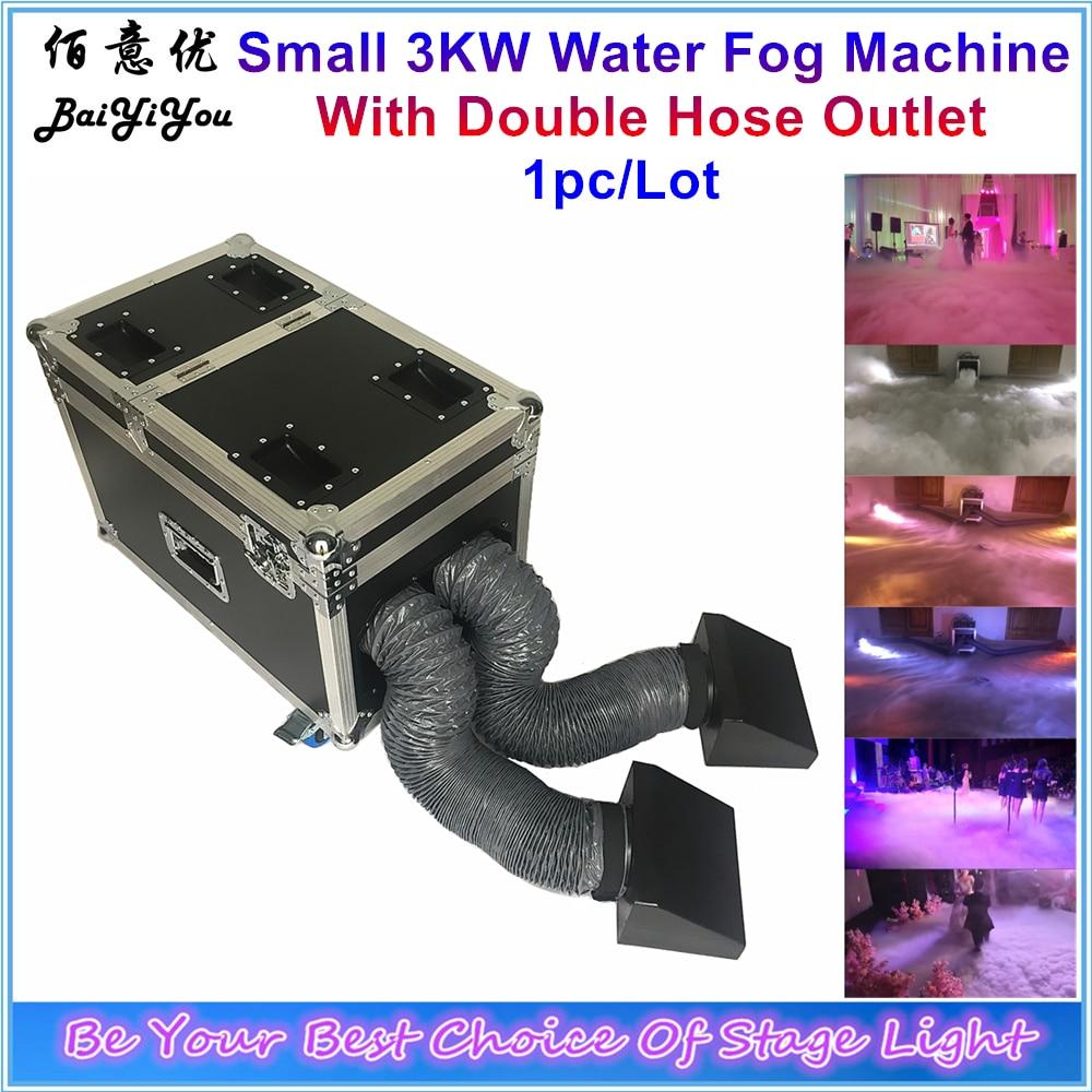 1x nowy 3000W podwójne gniazdko maszyna do mgły wodnej 3KW na bazie wody niska ziemia mgła maszyna do dymu z podwójnym wężem na wesele