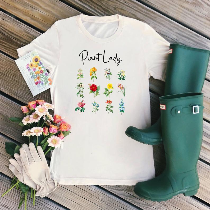 Crazy planta señora camisa gráfica Camisetas Mujer estampado Floral camiseta Grunge tierra día granja camisa jardinería sol señora tee