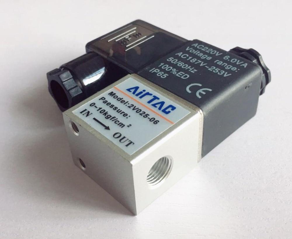 "Válvulas solenoides de aire 2V025-06 2 Posición 2 puerto 1/8 ""normalmente cerrado Válvula de control neumática"