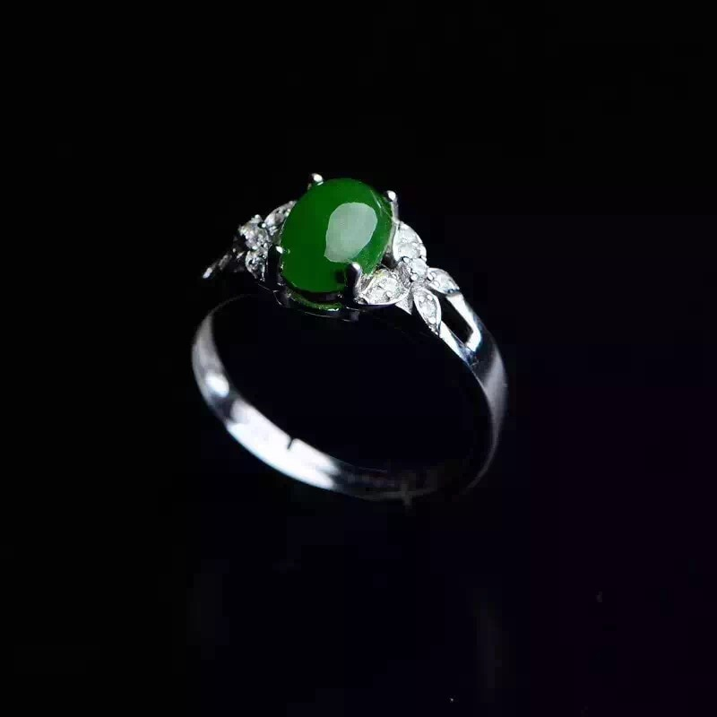 Natural green jasper Ring Natural gemstone ring S925 sterling silver trendy Elegant fine Bow scissors women girl gift Jewelry