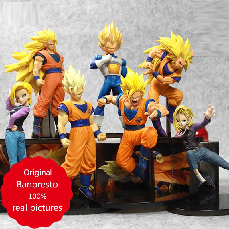 Original Banpresto Super saiyan Dragón ball figura Son Goku vegeta Android n. ° 18 SCultures Big 6 colección juguetes para niños