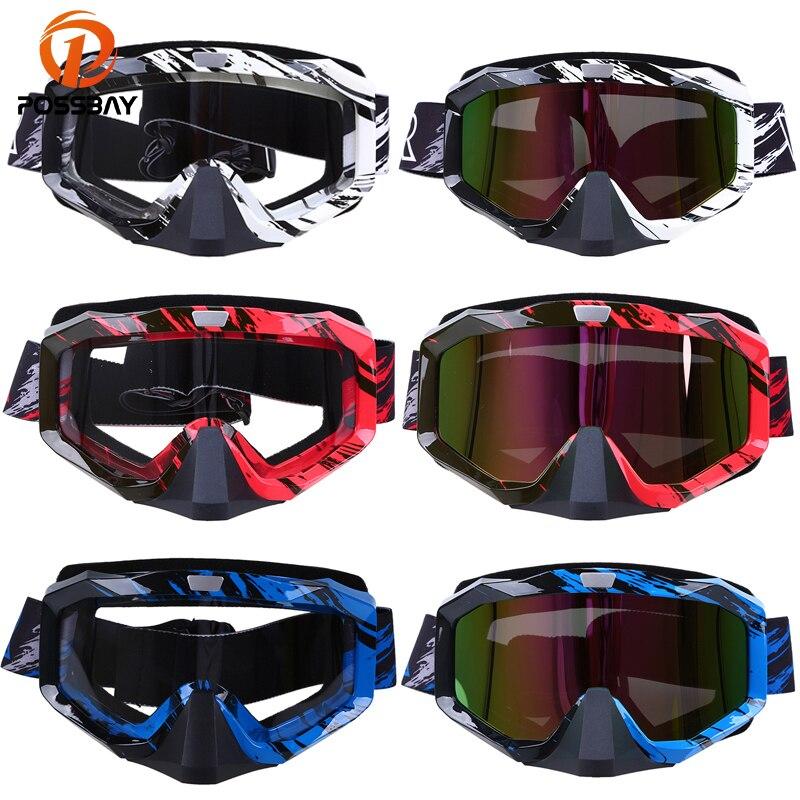 POSSBAY, gafas de moto, casco, gafas de esquí, Skate, rojo, azul, blanco, gafas de sol, gafas para motocross, deportes al aire libre, gafas de ciclismo
