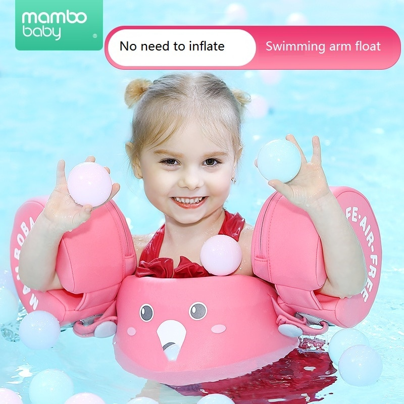 Mambobaby Non-Inflatable Water Floats Ring Aid Vest With Arm Wings Baby Swimming Training Float Swim Trainer For Kids 2~6 Years
