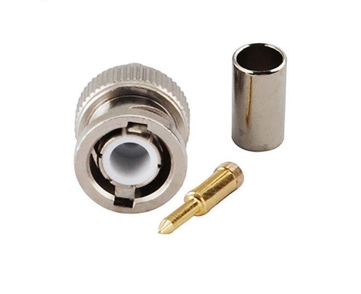 Conector macho BNC para cable coaxial 75-3 RG58 75-4 RG59 75-5 RG60, conector BNC RG-58 RG-59 de RG-60, toma de conexión crimpadora de 3 piezas