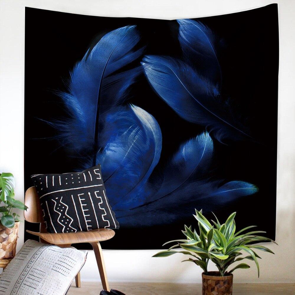 Fondo negro tapiz colgante de pared plumas de decoración azul hogar popular cuadrado estilo europeo tapiz cómodo