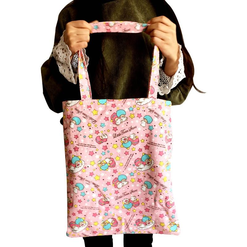 Rosa estrela gêmea moda anime lona sacos de ombro macio tote messenger bolsa casual sacola de compras senhora meninas novo