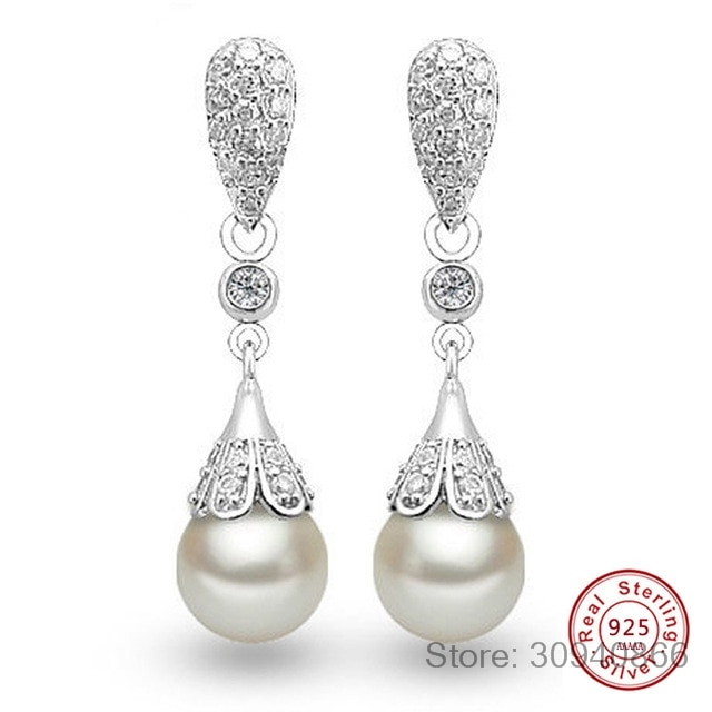 ¡Venta al por mayor! Pendientes largos clásicos de Plata de Ley 925 con cristal transparente y lágrima para bodas, fiestas y fiestas