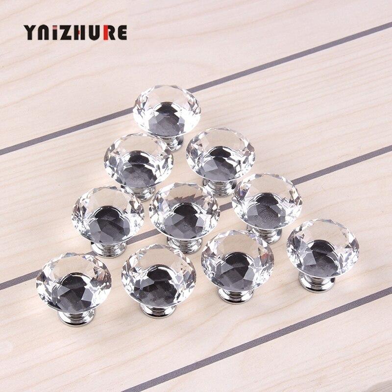 1 pacote/10 pçs 30mm diamante forma de cristal botão de vidro armário gaveta puxar lidar com armário roupeiro botões acessórios de ferragem