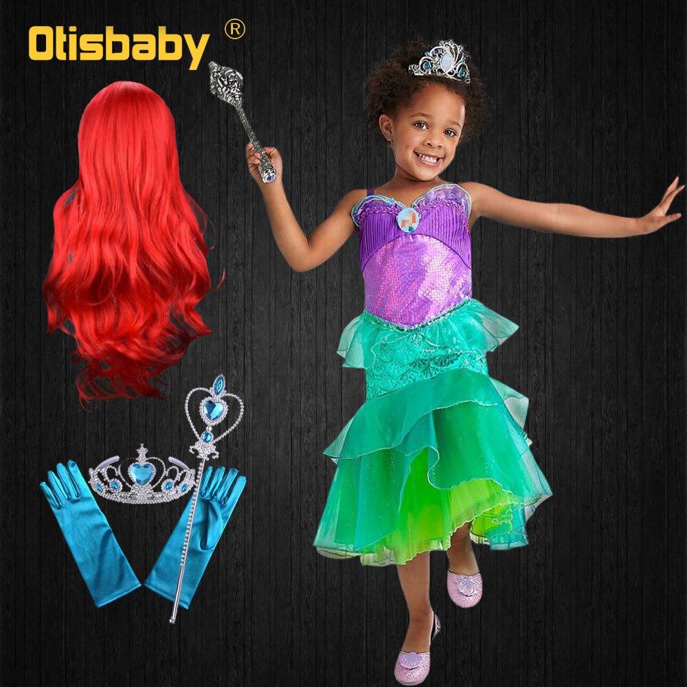 2019 niñas princesa Ariel vestir la sirenita traje niños chaleco tul vestidos escalonados niña carnaval fiesta cumpleaños regalo