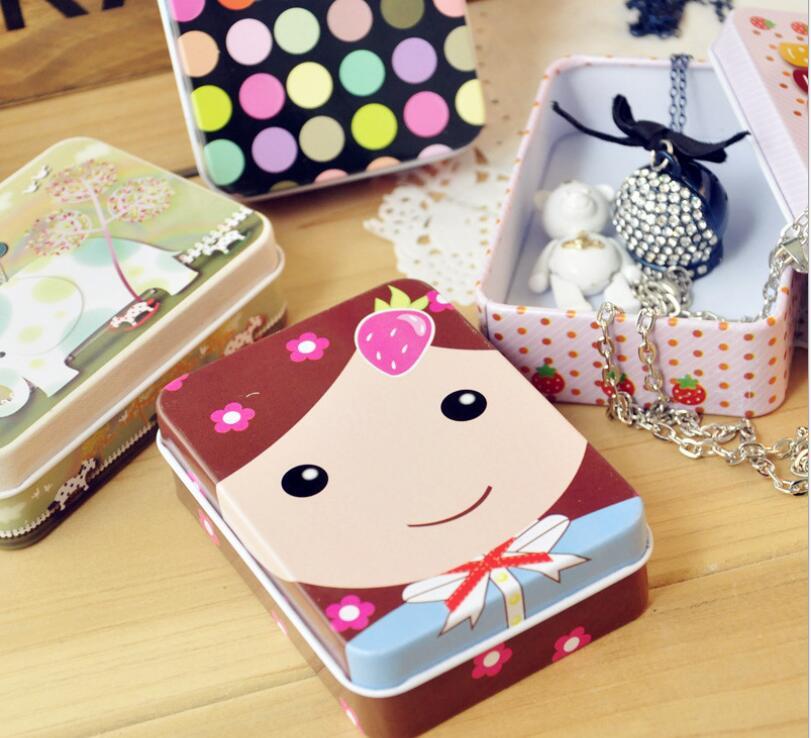 Envío Gratis 100 Uds. Caja de Metal Rectangular encantadora para almacenamiento de joyas caja de lata de dulces organizador titular de la baratija regalo Mini lindo