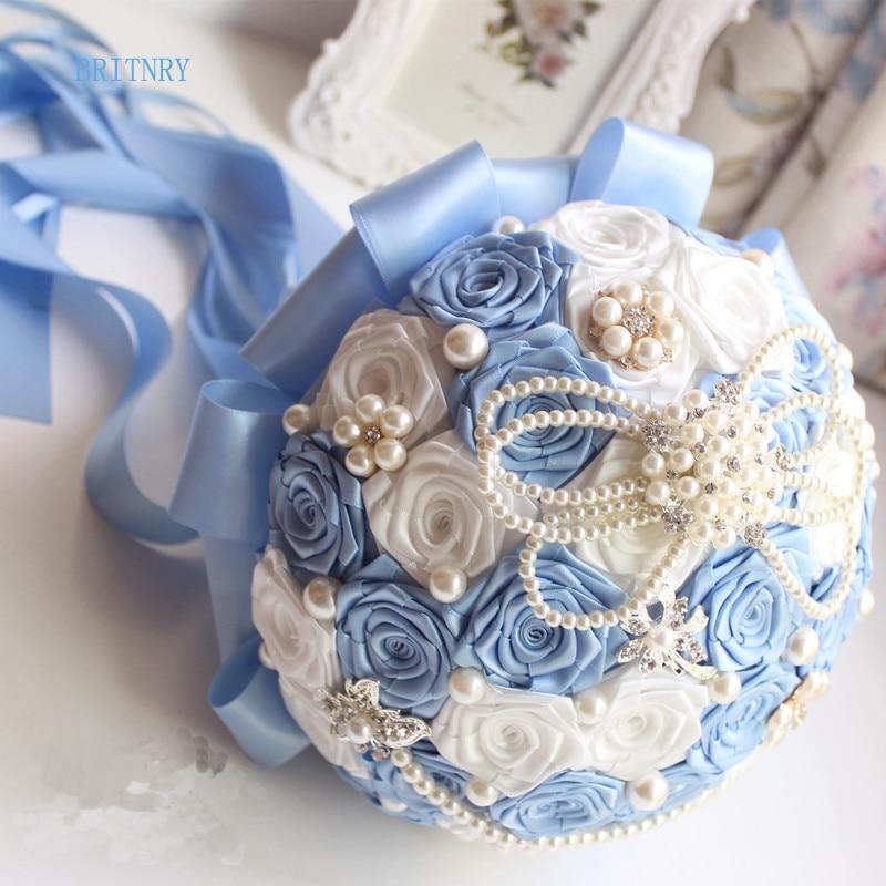 BRITNRY Fotos reales azul ramo de boda hecho a mano flores de dama de honor ramo mancha ramo de rosas de novia