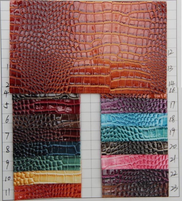 Superficie brillante, piel de PU sintético de grano de cocodrilo, piel sintética de cocodrilo resistente al agua, tela de material