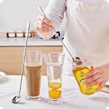 20CM Runde Schüssel Kürbis Form Edelstahl Langen Griff Mischen Löffel Tee Kaffee Eis Dessert Löffel Küche Werkzeuge