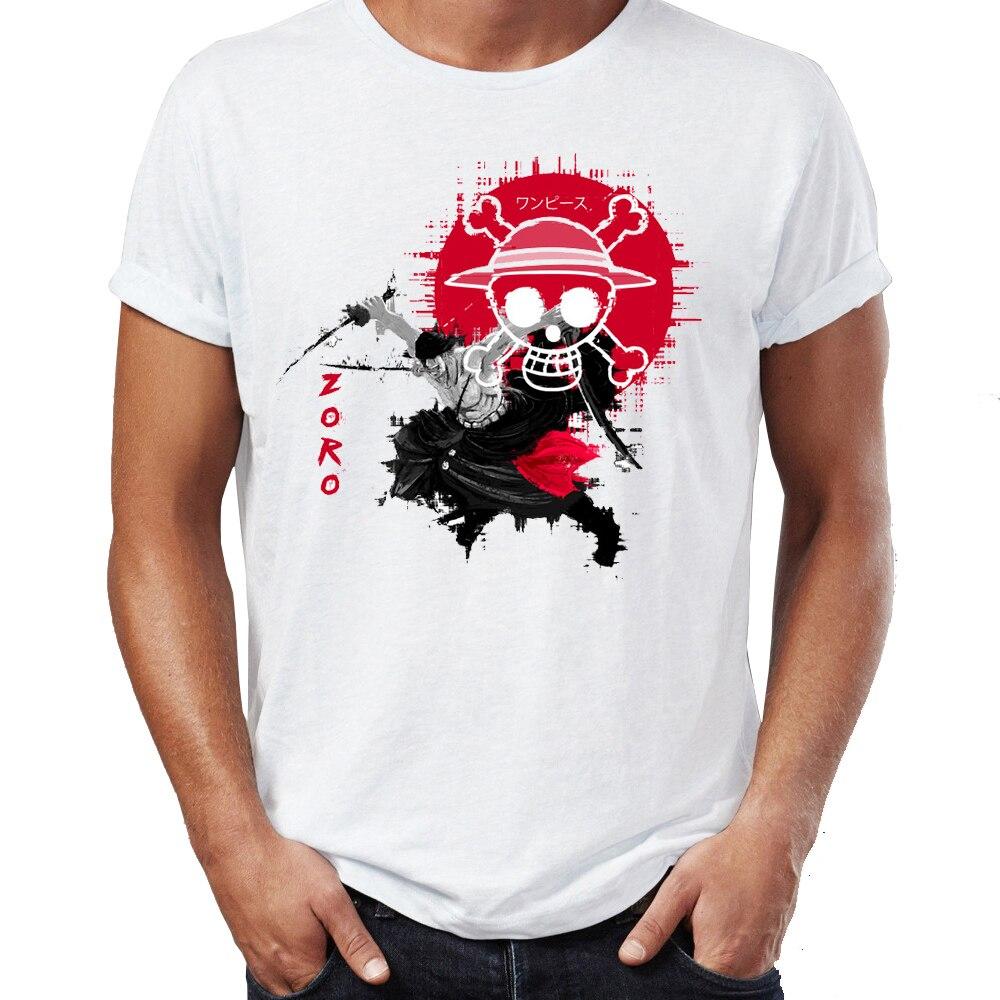 Camiseta de verano para hombre pirata Hunter Zoro y Chopper una pieza Anime Badass camiseta Cool camisetas altas Harajuku Streetwear
