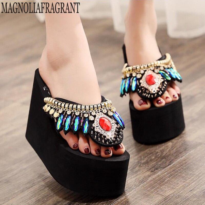 Las mujeres flip flops Sandalias moda Mujer estilo nacional verano plataforma zapatos de Sandalias Mujer Sandalias zapatillas de playa Sandalias de Mujer