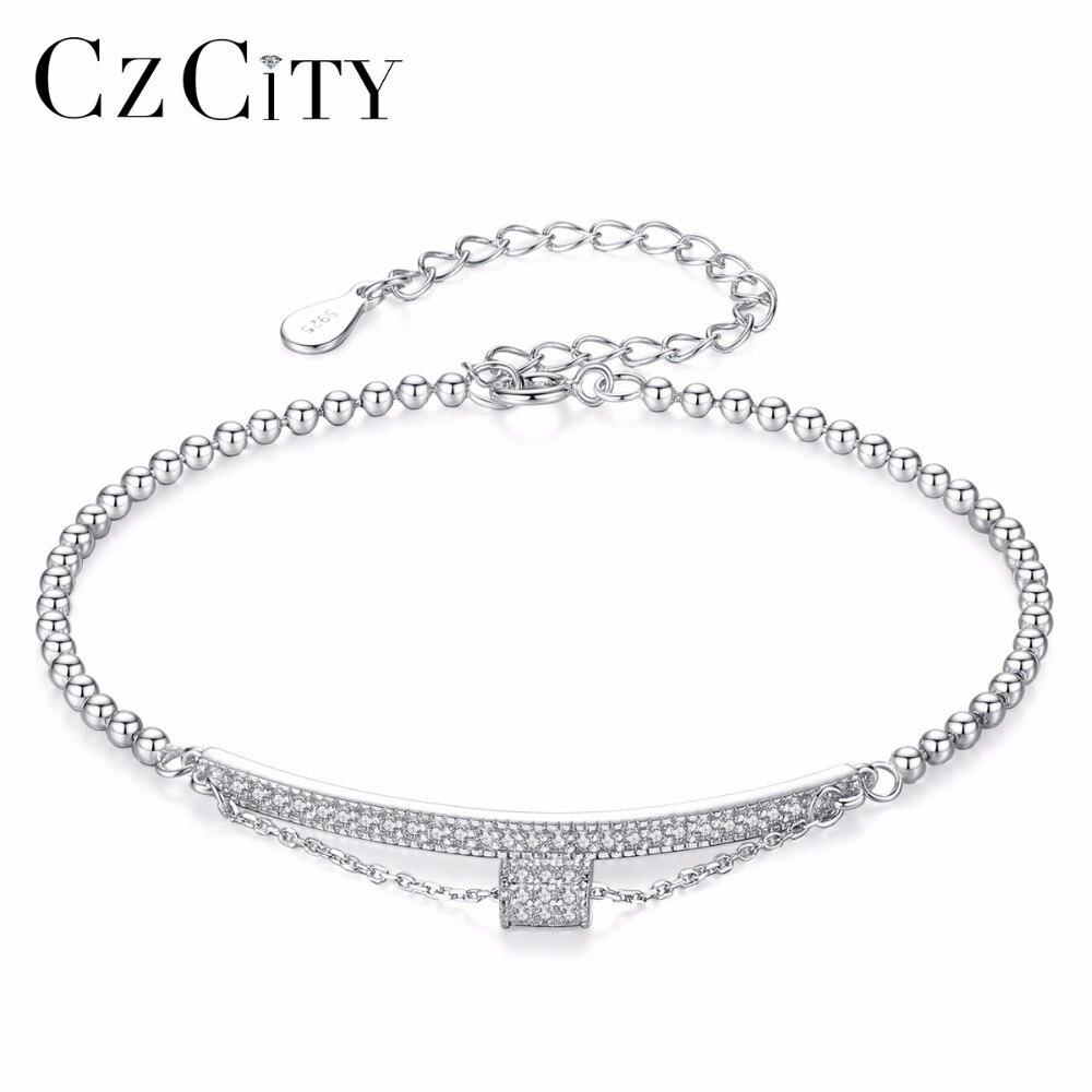CZCITY Brand The 925 Pure Silver Bracelet Jewelry  Charm Bracelet Simple Style Girl Gift Jewelry Delicate Chain Bracelet