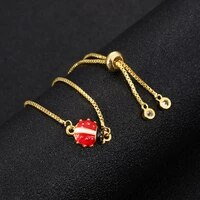 high quality metal rhinestone ladybug bracelets bangles for women men ladybird drill link chain bracelet hand strings adjustable