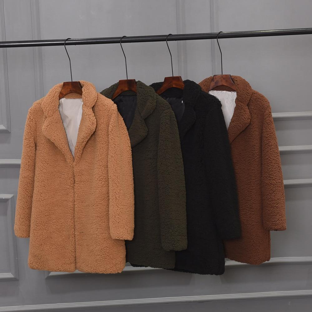 2019 Faux kürk ceket kadınlar sıcak dış giyim peluş çentik yaka gevşek kürk ceket kış ceket gevşek hırka siper katı kadın ceket