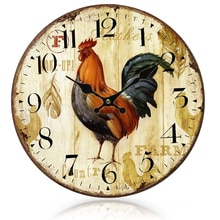 Gosear-horloge murale en bois de coq de pays style primitif européen   Vintage, décoration de maison