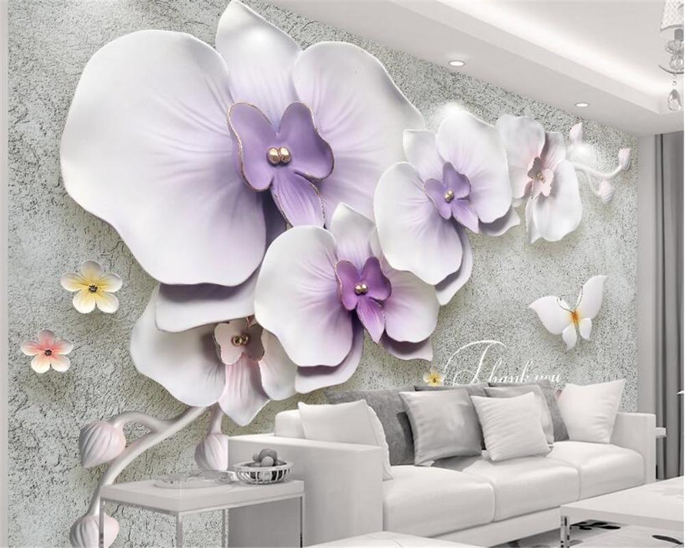 Beibehang alta calidad personalidad moda retro 3d papel pintado nuevo relieve chino tridimensional falaenopsis TV fondo