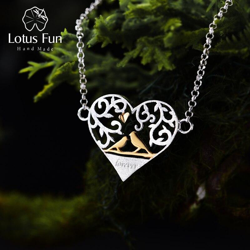 Lotus Fun Real 925 Sterling Silver Handmade Fine Jewelry Romantic Bird in Love Heart Shape Bracelet for Women