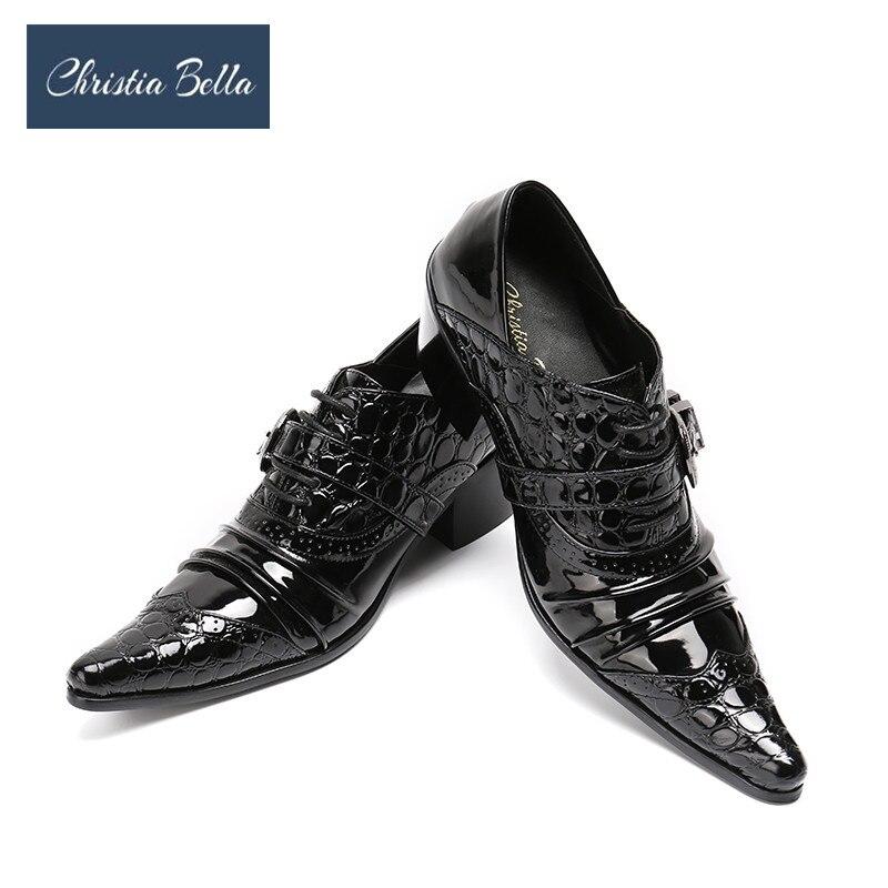 Zapatos de vestir de diseñador de moda con pliegues para hombre de piel auténtica negra, zapatos de fiesta de boda con tacón alto, zapatos de hombre de talla grande 38-47