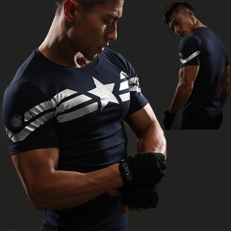 Camiseta América capitán gimnasio camiseta de artes marciales mixtas hombres manga corta Tops 3D compresiva con dibujo Camiseta Superman castigador