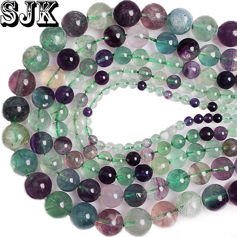 Cuentas de piedras naturales coloridas de fluorita cuentas redondas de piedras cuentas espaciadoras sueltas para pulsera fabricación de joyas 4 6 8 10 12mm