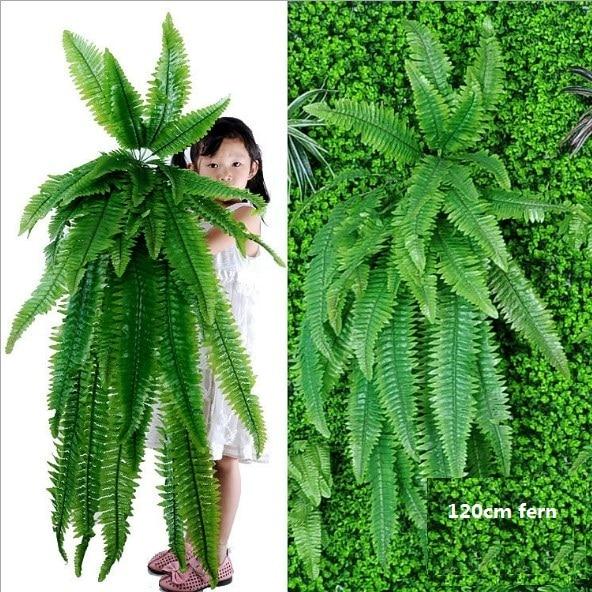 Plantes murales vertes artificielles en soie   Grandes plantes à suspendre, plantes à fleurs vertes et feuilles artificielles en soie