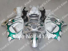 Argent vert noir pour Hayabusa GSXR1300 96-07 GSX R1300 GSXR 1300 GSX-R1300 96 97 98 99 00 01 02 03 04 05 06 07 ABS carénage kit