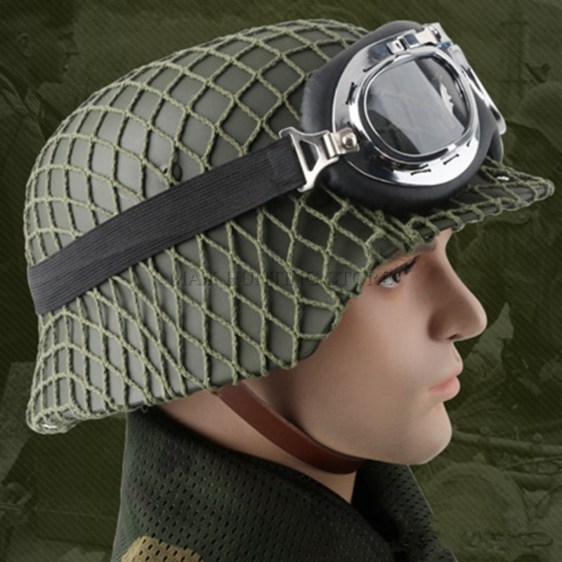Durable New WW2 German Elite M35 Steel Helmet CS Army Luftwaffe Steel Helmet Military Training Outdoor Activities Safety Helmet
