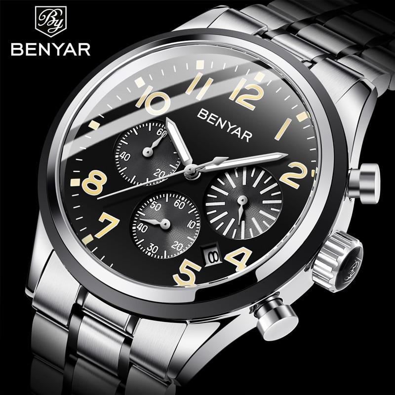 Nuevos relojes de hombre BENYAR marca superior 2019 cronógrafo militar de negocios relojes de cuarzo de moda a prueba de agua reloj Masculino