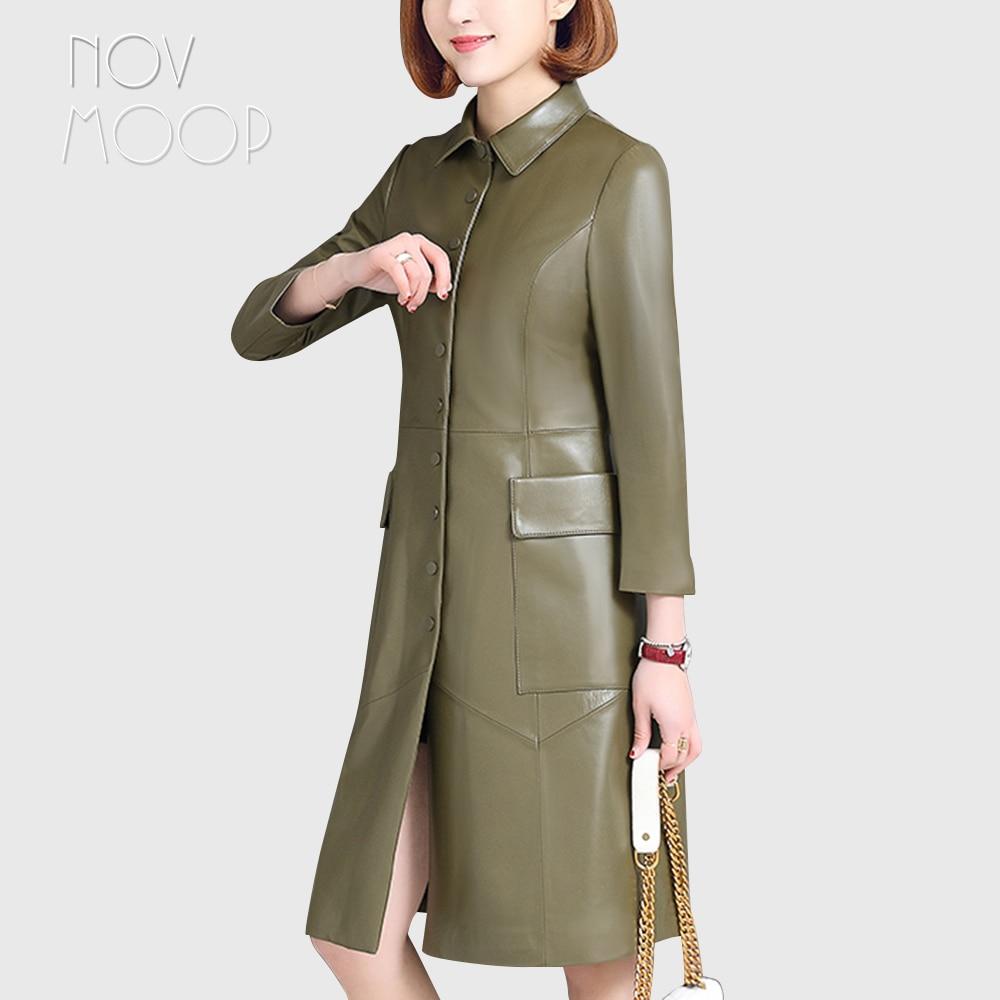 Bureau style dames printemps noir vert en cuir véritable véritable cuir dagneau longue trench manteau coupe-vent vêtements dextérieur casacos LT1936