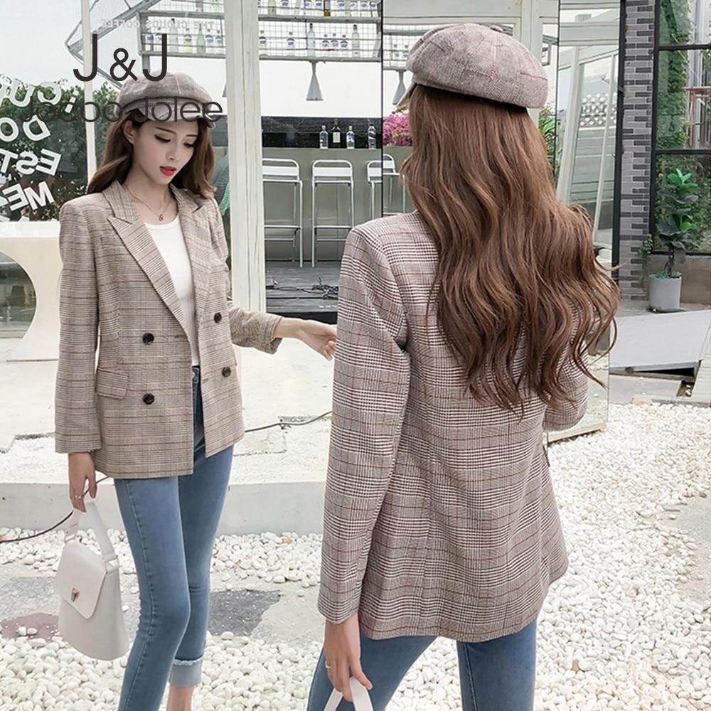 Jocoo Jolee Vintage Jackets Women Casual Plaid Double Breasted Blazer Office Lady Retro Suits Coat Korean Style Blazer Workwear