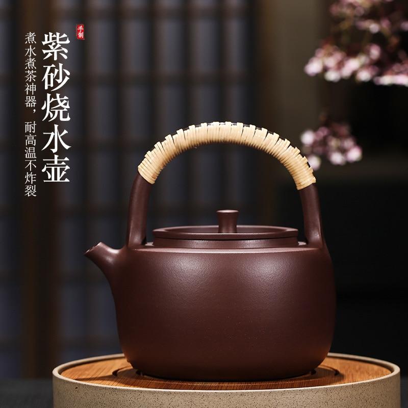 TaoLu hervida yixing tetera manual bruto mineral violeta arenoso salud fuego directo de alta temperatura de fijación pot kettle