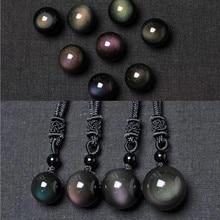 Natural Black Obsidian Rainbow Eye Transfer Bead Pendant Necklace Women Good Luck Jewelry Man Gift