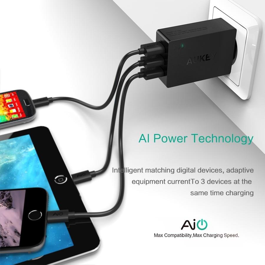 Aukey 5v6a uniwersalna ładowarka podróżna usb adapter ue wtyczką amerykańską ściany inteligentna ładowarka do telefonu komórkowego iphone tablet xiaomi red htc sony 6