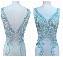 Appliques de strass   Clair à la main, avec des appliques de couleur AB, coudre sur les perles, patchs de garniture pour robe de mariée, partie avant et arrière