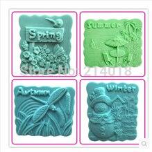 Moule à savon en silicone 4 saisons   Printemps, été, automne, hiver, moule de décoration de gâteau, moule à gâteau, moule à savon manuel, outils de fondant