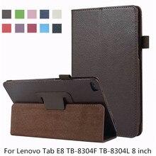 Funda de piel de PU con soporte de Litchi para Lenovo Tab E8 TB-8304F TB-8304L 8 pulgadas