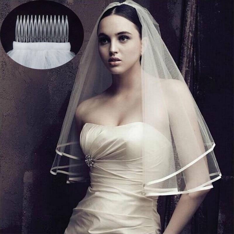 2018 nueva llegada accesorios de la boda de dos capas de borde blanco velos de boda de marfil, velo de novia, peine