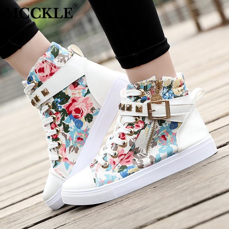 MCCKLE Women  Casual Flat Platform White Shoes Female Canvas Rivets Zipper Lace Up Buckle Strap Skull Vulcanize Shoes