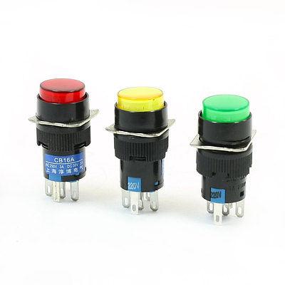 Momentâneo nenhum nc 5 pino luz de néon interruptor de botão redondo ac 220 v