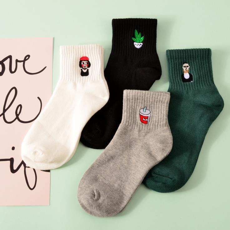 35-40 Unisex Cotton Kawaii Milk Rose Aloe vera Harajuku Socks for Women Men Calcetines Black White Gray Socks 16 Colors WZ054